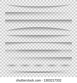 Lines shadow. Paper divider tabs web lines break frame realistic transparent shadows template side bar edge box pack, vector set