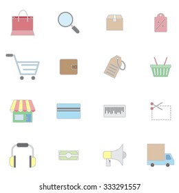 lines shopping icons set