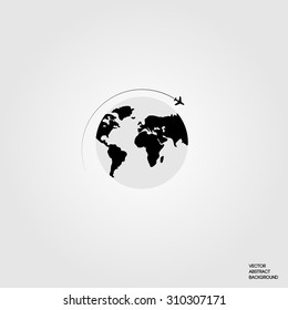 Lines. Silhouette airplane.  Roundabout Circulation. Flight around the world. Earth. Map of the ground. Airplane and globe.  Vector illustration