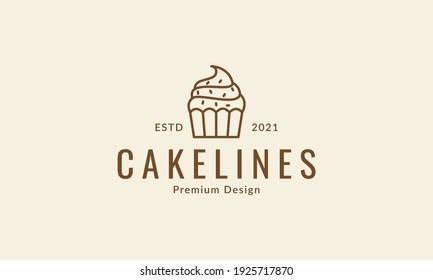 lines simple delicious cake logo design vector icon symbol illustration