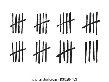 Lines or sticks hand drawn with brush strokes sorted by four and crossed out. Simple mathematical count visualization, prison or jail wall counter, tally marks. Monochrome vector illustration
