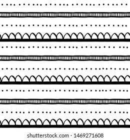 lines stripes dots boho pattern of doodle seamless tile , black isolated on white vector illustration . striped line geometric ethnic ornament for textile , repeatable