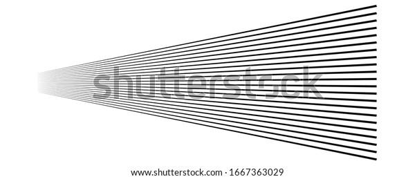 Lines, stripes in perspective. 3d strips vanishing, diminishing to horizon. Angle burst radial lines. Straight, parallel, horizontal streaks