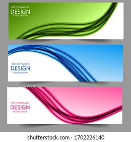 Lines waves in pink green blue colors. Abstract geometric texture. Vector banner background .Eps10 Abstract swoosh background. Abstract corporate business banner web template, horizontal advertising.