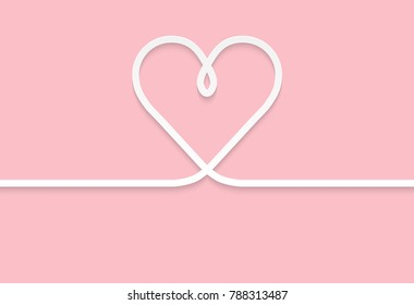 Lines White hearts paper art On a pink paper background  shadows, light ,For Valentine's Day ,vector illustration
