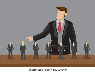 Lineup of homogeneous tiny business professionals and giant businessman pointing at one with light bulb head. Concept of outstanding worker getting recognition, hiring process.