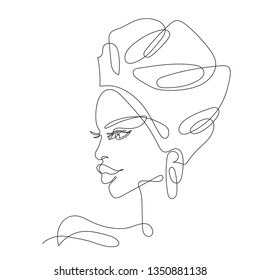 linework tattoo. Continuous one line drawing. Abstract portrait of young African woman in minimalistic modern style