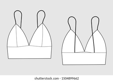 Lingerie bra female vector template isolated on a grey background. Front and back view. Outline fashion technical sketch of clothes model.