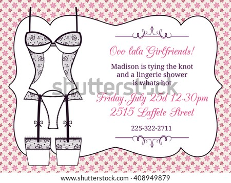 Lingerie Bridal Shower Invitation Fashion Party Stock Vector