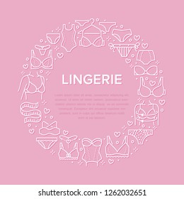 Lingerie circle poster with flat line icons of bra types, panties. Woman underwear background, vector illustration of brassiere, bikini, swimwear. Pink white concept for clothing store brochure.