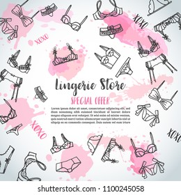 Lingerie horizontal banners Fashion bra and pantie. Web header template Vector illustration Lingeries
