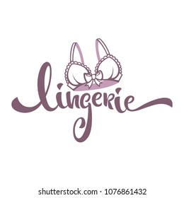 lingerie, lady bra and lettering composition for your underwear company