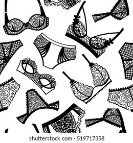 Lingerie panty and bra seamless pattern. Vector illustration.