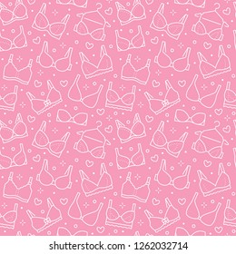 Lingerie seamless pattern with flat line icons of bra types. Woman underwear background, vector illustrations of brassiere. Cute pink white wallpaper for clothes store.