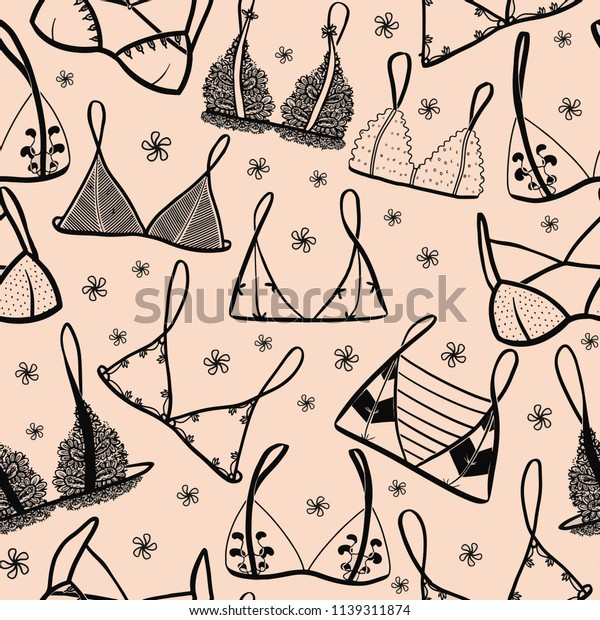 Lingerie seamless pattern pale dusty peach background. Set of bras for your design, print.
