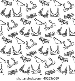 Lingerie seamless pattern. Vector underwear background design. Outline hand drawn illustration. Bras and panties doodle. Fashion feminine wallpaper. Lingerie seamless vector pattern.  Lingerie set.