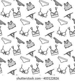 Lingerie seamless pattern. Vector underwear background design. Outline hand drawn illustration. Bras and panties doodle. Fashion feminine wallpaper. Sexy lingerie and pantie pattern. Lingerie vector.