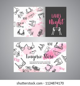 Lingerie shop business card Fashion bra and pantie. Web header template Vector