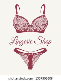 Lingerie shop emblem with lace bra and pants drawn in retro style. Vector illustration