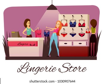 Lingerie store flat colorful horizontal composition with cartoon style human characters of female customers and saleswoman vector illustration