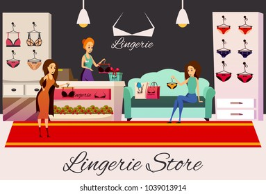 Lingerie store flat colorful horizontal background with indoor shop interior items for sale and human characters vector illustration