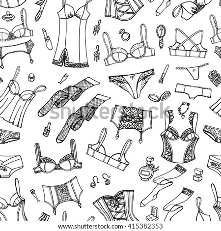 a3f76a6be9 Lingerie woman underwear seamless pattern.Vector hand drawn doodle fashion underwear  background design.Outline