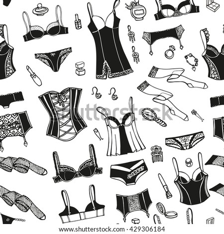 951f7219b5 Lingerie woman underwear seamless pattern.Vector hand drawn doodle fashion underwear  background n. Bras