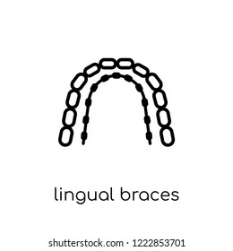 Lingual braces icon. Trendy modern flat linear vector Lingual braces icon on white background from thin line Dentist collection, editable outline stroke vector illustration