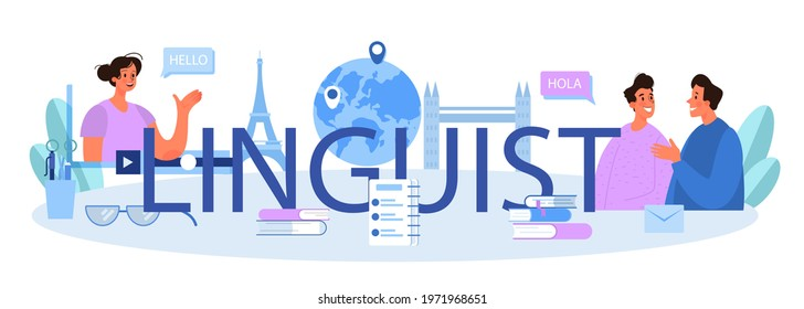 Linguist typographic header. Person translating document, books and speach. Multilanguage translator using dictionary, translation service. Isolated vector illustration