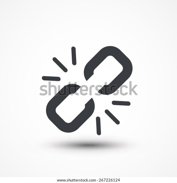 Link break icon. Broken connection. Freedom concept, Broken chain link icon. Disconnect. Break free. Web link icon. Logo, Design, Flat, UI, Web