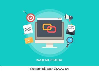 Link building - Backlink Strategy for SEO marketing - flat design vector illustration with seo icons