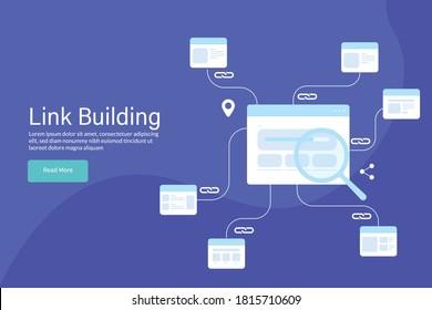 Konzept der Linkbildung, Backlinks von verschiedenen Websites, Verbindung mit anderen Websites über Links - Vorlage für die Landing-Page für SEO und digitales Marketing
