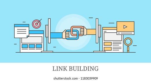 Link building, inbound links, backlink building, seo concept outline banner isolated on blue background