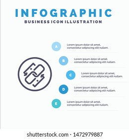 Link, Chain, Url, Connection, Link Line icon with 5 steps presentation infographics Background