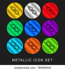 Link hand drawn interface symbol 9 color metallic chromium icon or logo set including gold and silver