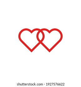 link line drawing two hearts, red vector minimalist illustration of love concept on white background . Vector illustration.