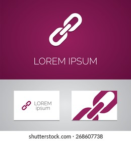Link logo template icon design elements with business card