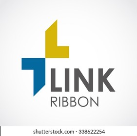 Link of ribbon arrow abstract vector and logo design or template connect business icon of company identity symbol concept
