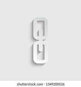 Link, single icon  vector  illustration isolated on white background  with shadow on a grey background