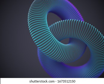 Linked 3D torus made up of glowing particles on dark background. Abstract visualization of network and global connection. Vector illustration of digital geometric shapes.