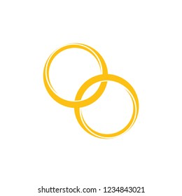 linked gold ring symbol logo vector