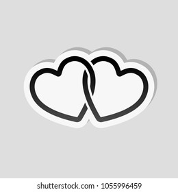 linked hearts icon. Sticker style with white border and simple shadow on gray background