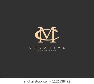 Linked Letter MC Vintage Logo Design