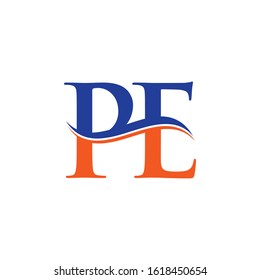 Linked Letter PE Logo Design Vector Template. Orange And Blue PE Letter Logo Vector Illustration