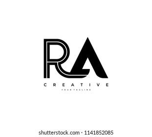 Linked Letter RA Black Lines Design Logo