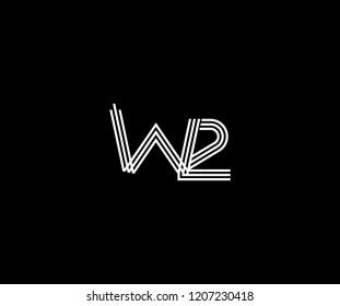Linked Letter W2 Linear Stripe Monogram Modern Logo Illustration