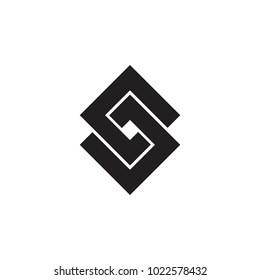 linked square logo, CD or GJ letter logo