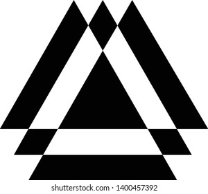 Linked Triangles. Abstract clean simple triangle logo vector design. Geometic business logo icon design template. Abstract sign constructed from interlinked triangles.