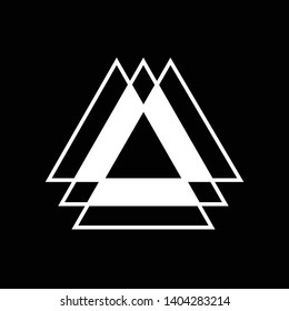 Linked Triangles. Abstract clean simple triangle logo vector design. Geometic business logo icon design template. Abstract sign constructed from interlinked triangles. Isolated on black background.