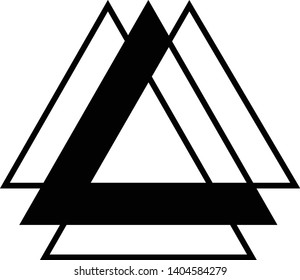 Linked Triangles. Abstract clean simple triangle logo vector design. Geometic business logo icon design template. Abstract sign constructed from interlinked triangles. Isolated on white background.
